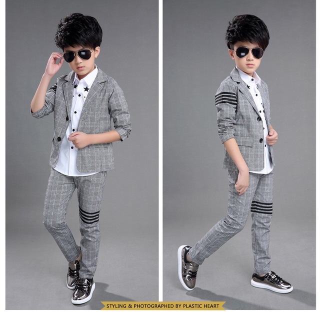 2018 Formal gray Children Suit winter autumn Boys Suits Kids Blazer Boys  Formal Suit For Wedding Boys Clothes Blazer+Pants 4-12Y 293045532