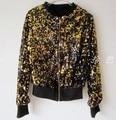 Chica jakcet Europa punk lentejuelas de oro negro Del Otoño Del Resorte prendas de vestir exteriores femenina de Corea de manga larga cardigan corto chaqueta de cremallera