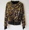Menina jakcet ouro preto Primavera Outono Europa punk lantejoulas outerwear feminino Coreano de manga comprida cardigan curto jaqueta com zíper