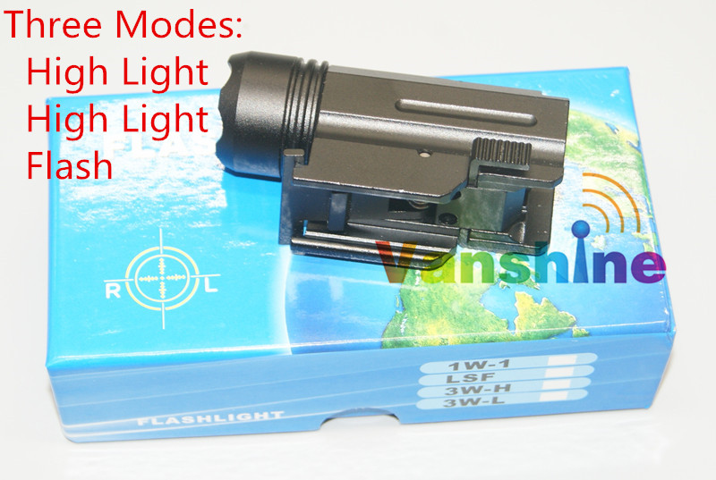 Quick Release Tactical Led Flashlight Cree for Glock 17 19 20 21 22 23 with 20mm Weaver or Picatinny Rail Glock Accessories