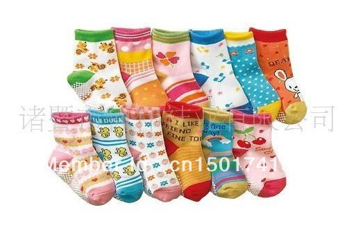 free shpping New arrival hot-selling 100% cotton children socks slip-resistant small kid's socks candy color  baby floor socks