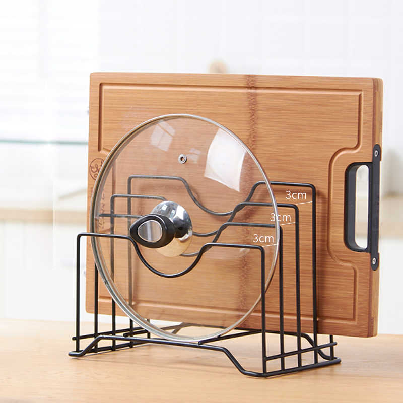 Kitchen Shelf Pan Rack Cutting Board Holder Storage Pot Lid Organizer  Stands Tapas Cover Stand Stainless Steel Dish Kitchen Rack