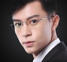 Eyesilove ultra licht männer Titan Legierung Randlose myopie gläser frauen Kurzsichtig Gläser brillen 0,50 zu 6,00