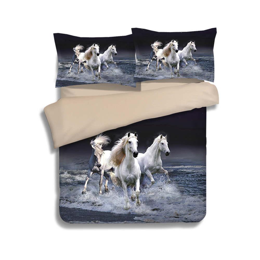 Horse bedding for girls - White Horse Animal Duvet Quilt Cover King Queen Twin Size Bedlinen 3d Printed Children Girls Bedding Sets 3 4pc Woven Pillowsham