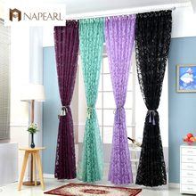 NAPEARL Red curtains window treatments semi-blackout curtains 3d fashion design modern curtains for living room(China)
