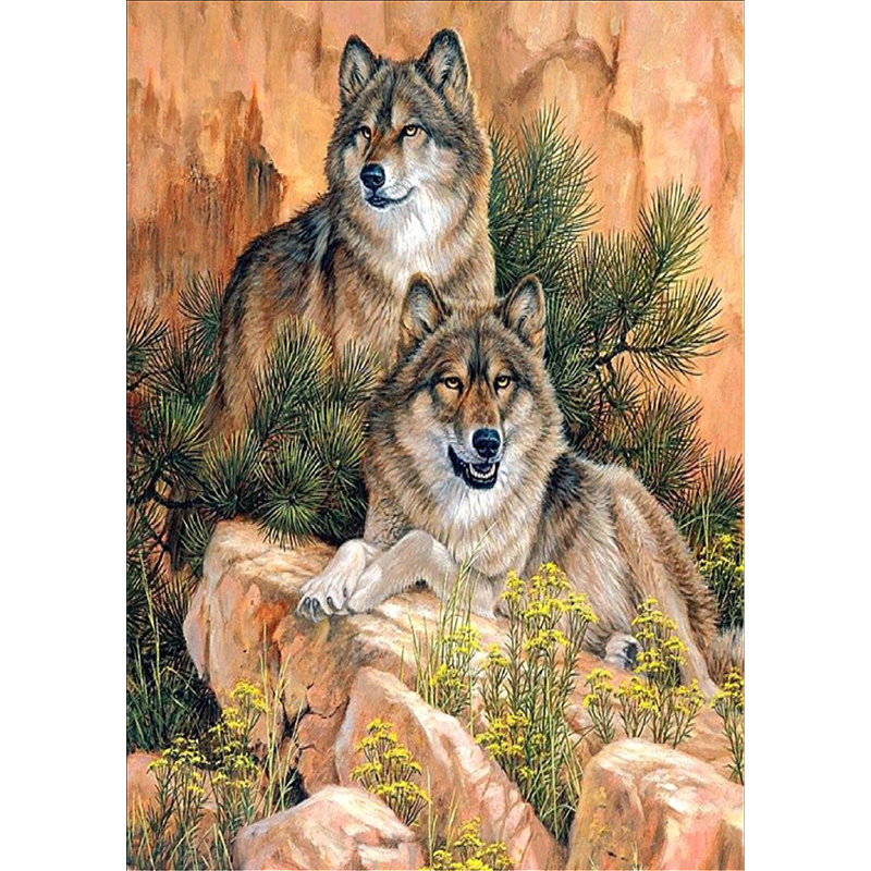 5D Diamond Embroidery Resin drill 3D Diy diamond Painting cross stitch kits Animal wolf picture mosaic pattern New Year gift