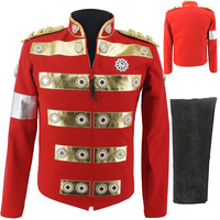 Rare MJ Michael Jackson Africa Red Handmade Jacket Charity Tour with Child England Style Costume in 1994's