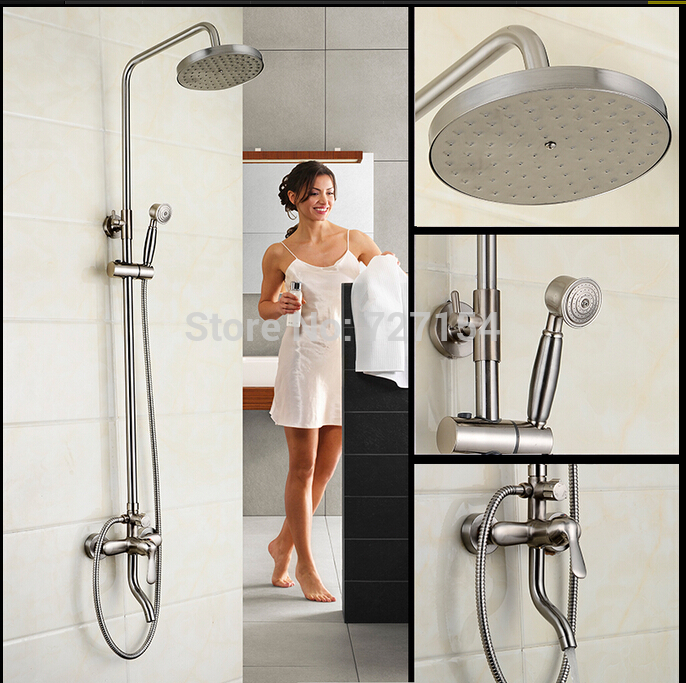 все цены на New Nickel Brushed Rainfall Shower Faucet Wall Mount Single Handle Shower Mixer онлайн