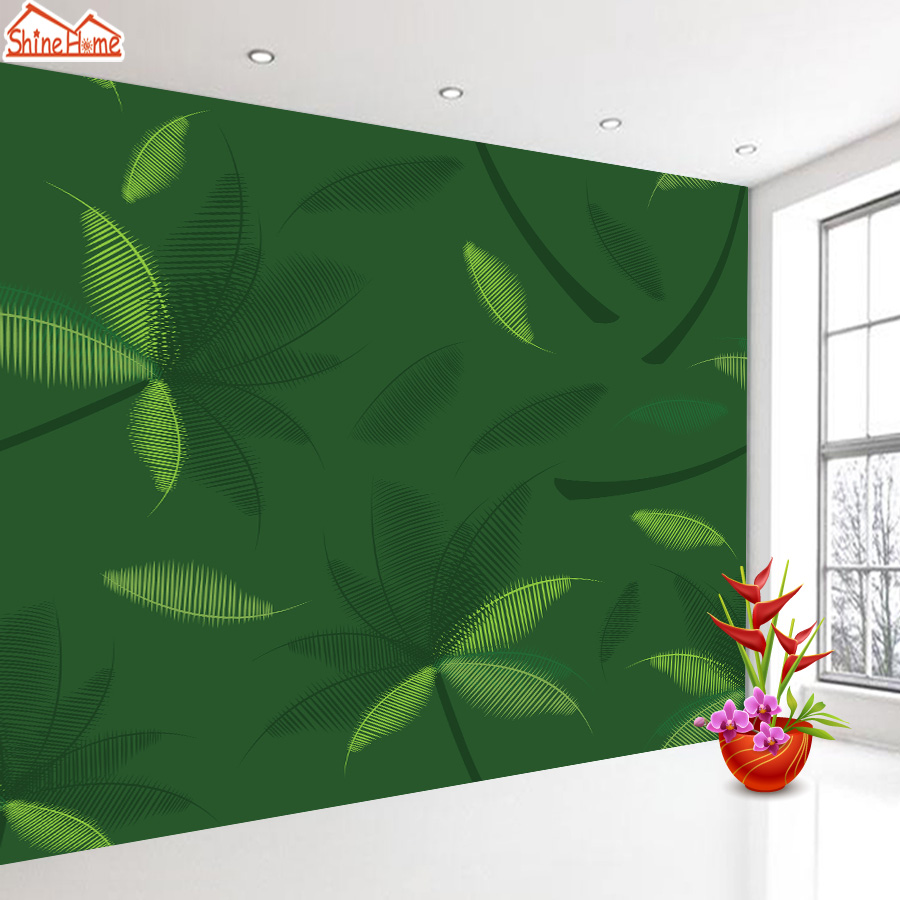 ShineHome-3d Room Green Leaf Sketch Nature Wallpapers 3d for Walls 3 d Livingroom Wallpapers Mural Roll Wall Paper Home Covering shinehome 3d room wallpaper black and white zebra strips wallpapers 3d for walls 3 d livingroom wallpapers mural roll paper