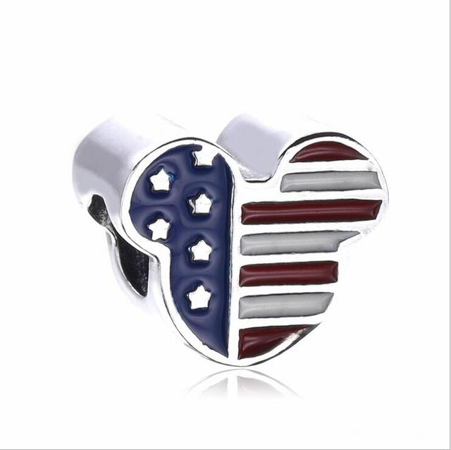 6c220d60d 925 Sterling Silver The New enamel Mickey United States National flag Charm  beads Fits Pandora Style