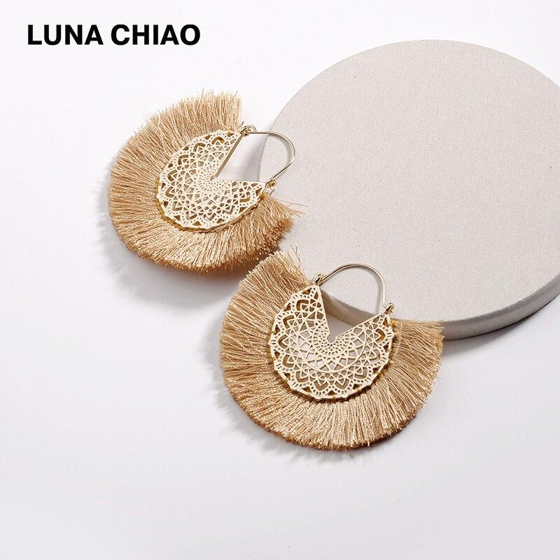LUNA CHIAO 2019 Fashion Flower Hollow Metal Fringed Tassel Statement Earrings For Women Boho Bijoux Earring Jewelry