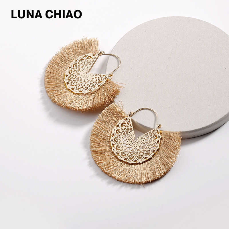 LUNA CHIAO 2019 Fashion Flower Hollow Metal Fringed Tassel Statement Earrings for Women Boho Bijoux Earring Jewelry