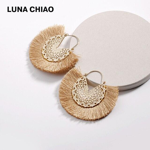 LUNA Чао 2019 Мода цветок полый металлический бахромой Нарядные серьги с кисточками для Для женщин Boho серьга бижутерия Украшения