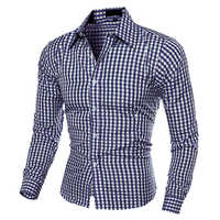Herrenmode Casual Revers Button-Down-Plaid Lange Ärmeln Slim-Fit Hemd TopFemmes camisa chemise camicia Mujer Kleidung