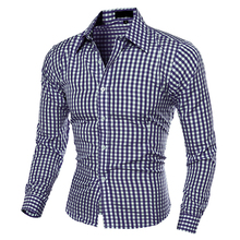 Men's Fashion Casual Lapel Button Down Plaid Long-Sleeved Slim Fit Shirt TopFemmes camisa chemise camicia Mujer Clothes