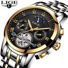 2018 relojes para hombre LIGE ocio deportes marcas principales reloj mecánico hombres lujo negocios moda impermeable reloj Masculino