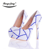 Luxury Women Wedding Shoes High Heels Platform Shoes White Pearl Real Leather Insole Woman Party Dress
