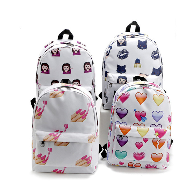 2016 Pretty Style Emoji Nail Backpack Women Canvas Backpacks Cute ...