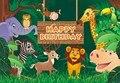 Виниловый фон для фотосъемки детей на день рождения с изображением слона жирафа зебры льва животных джунглей сафари