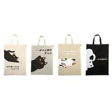 Получить скидку A4 документ сумка кошка папки, сумки Kawaii больше простой Ткань Оксфорд Высокое качество папке «документы» для подачи продукты студент