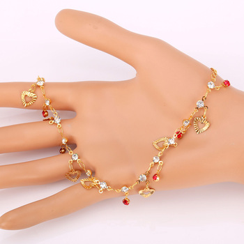 U7 Trendy Heart Anklet Summer Jewelry Gift Red Crystal Gold Color Ankle Foot Chain Bracelet For Women A301 4