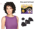 Cheap Deep Curly Weave extension Sew in Blended Black hair Weaving wefts with closure Very Short Hair Bundles for Black Women