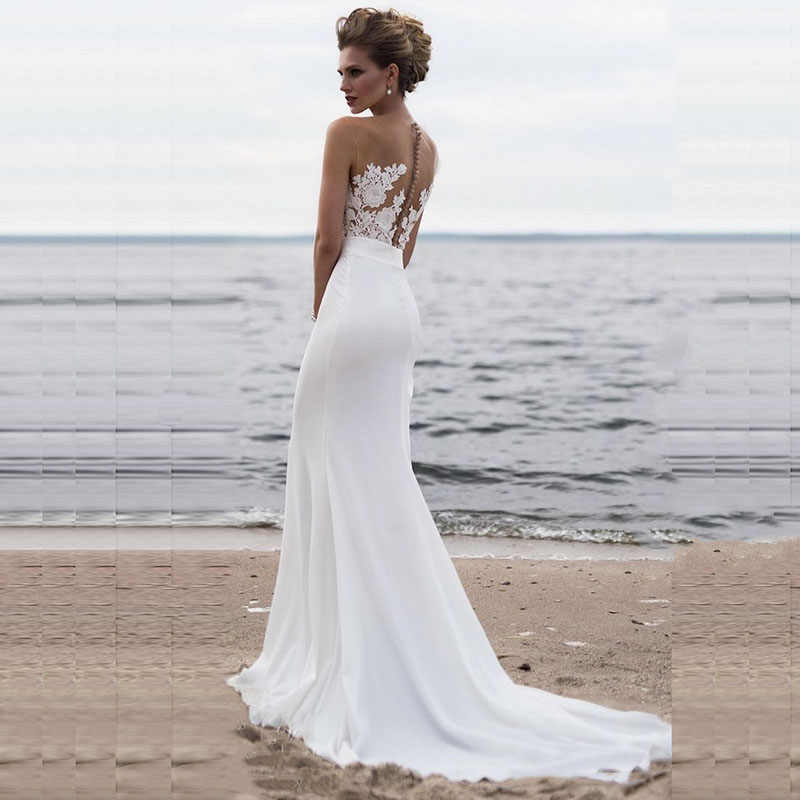 ff8f2b51f8 LORIE Beach Wedding Dresses 2019 Boho Mermaid Wedding Gown Scoop Appliques  Lace Princess Bride Dress Custom Made Plus size