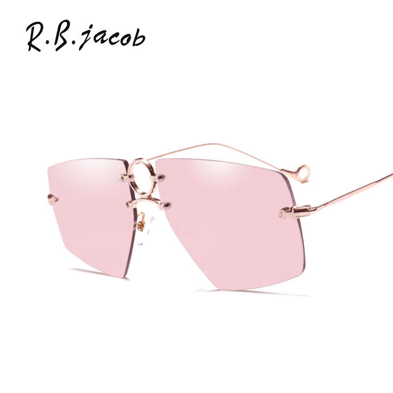 2017 Irregular Pink Sunglasses Women Rimless Luxurious Brand Designer Charm Lady Sun Glasses UV400 Vintage Accessory Hipster