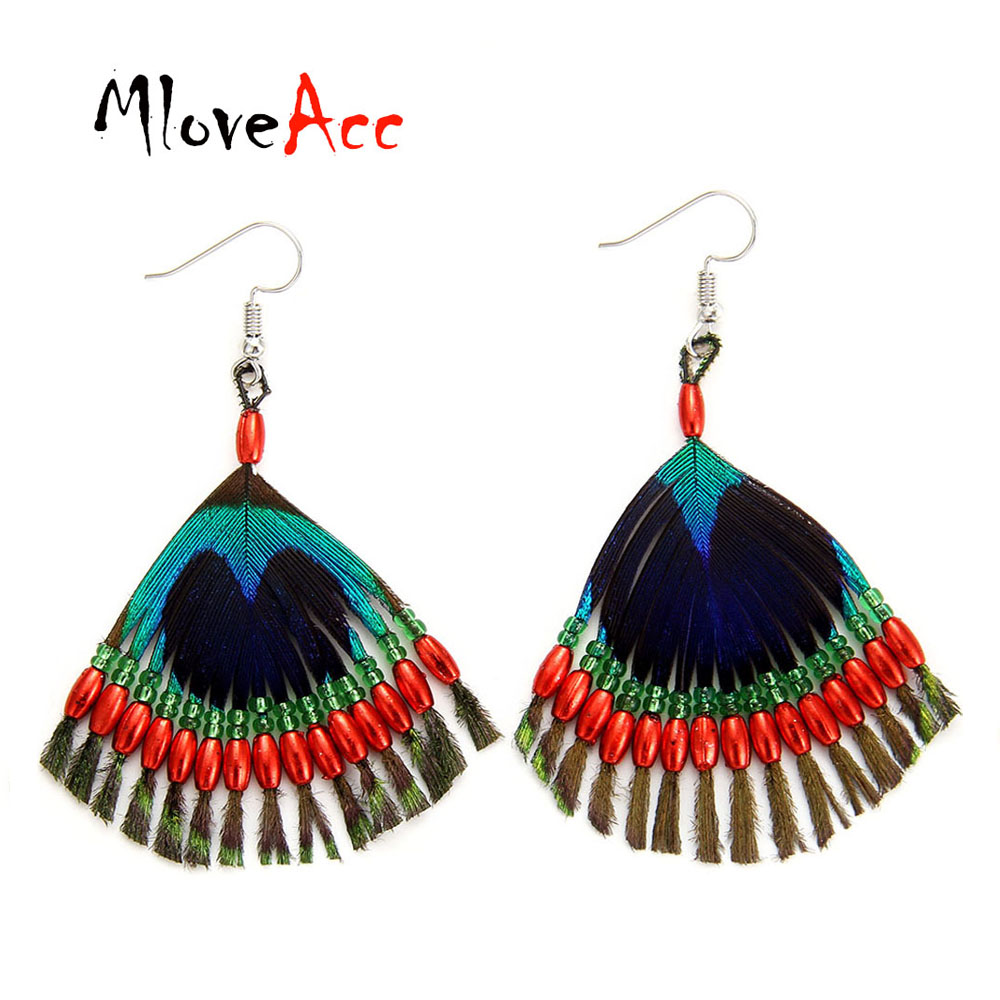 MloveAcc Vintage Handmade Beads Peacock Feather Earrings Women Ethnic Statement Tassel Drop Earrings Unique Jewelry Gifts кисти косметические royal&langnickel кисть кабуки chique kabuki синтетическая