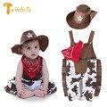 Conjunto de Roupas Menino Meninos Recém-nascidos Do Bebê Cowboy TWINSBELLA Sets Traje Cosplay Geral + Hat + Cachecol 3 pcs Crianças Macacão roupas Conjuntos