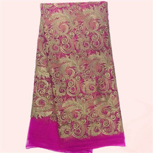Charming fuchsia African wedding dress material tulle lace French net lace fabric with stones for lady JNZ3-7 multi color