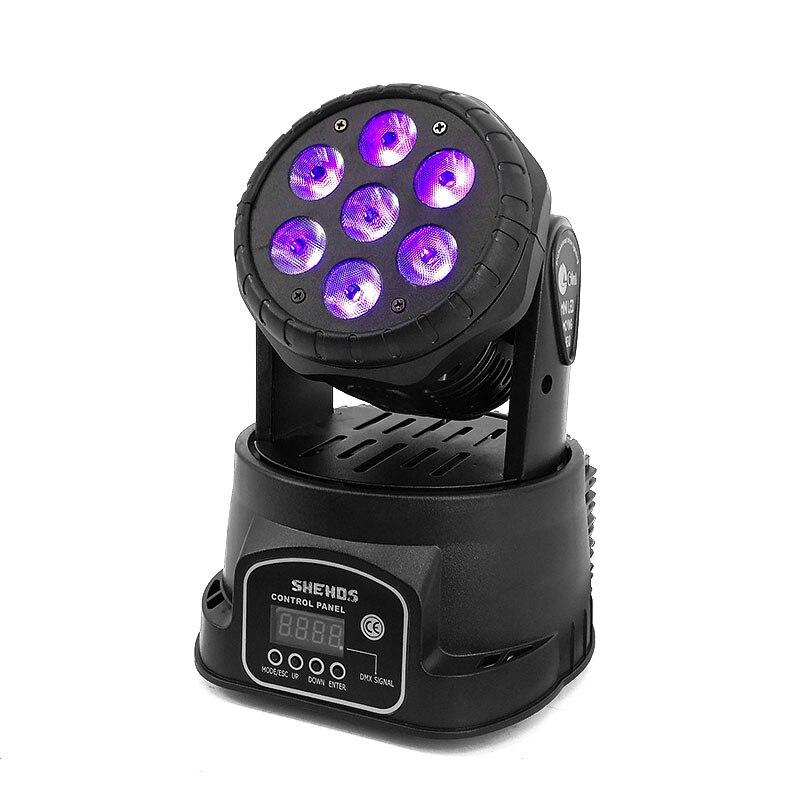 LED Moving Head Light Wash 7x18W RGBWA+UV 6in1 DMX 12/16 Channels stage light DJ Nightclub Party SHEHDS цена