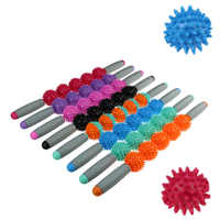 Gym Yoga Massage Stick Relax Muscle Roller 5 Spiked Balls Anti Cellulite Slimming Trigger Point Roller Muscle Body Relax Tool