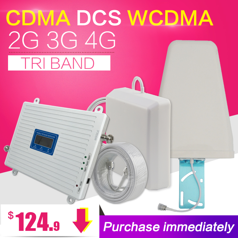 Nueva Zelanda CDMA 850 DCS 1800 WCDMA 2100 Tri Band Booster 2G 3G 4G LTE 1800 amplificador de señal de teléfono móvil repetidor de teléfono móvil