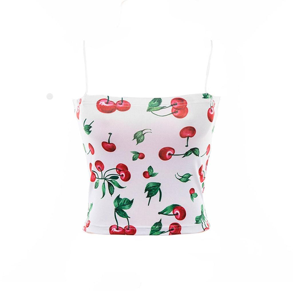Zomer Sexy Crop Tops Voor Vrouwen Bandjes Mouwloze Camis Patroon Cherry Streetwear Skinny Vest Tank Tops Cropped Feminino 2019 Elegant En Sierlijk