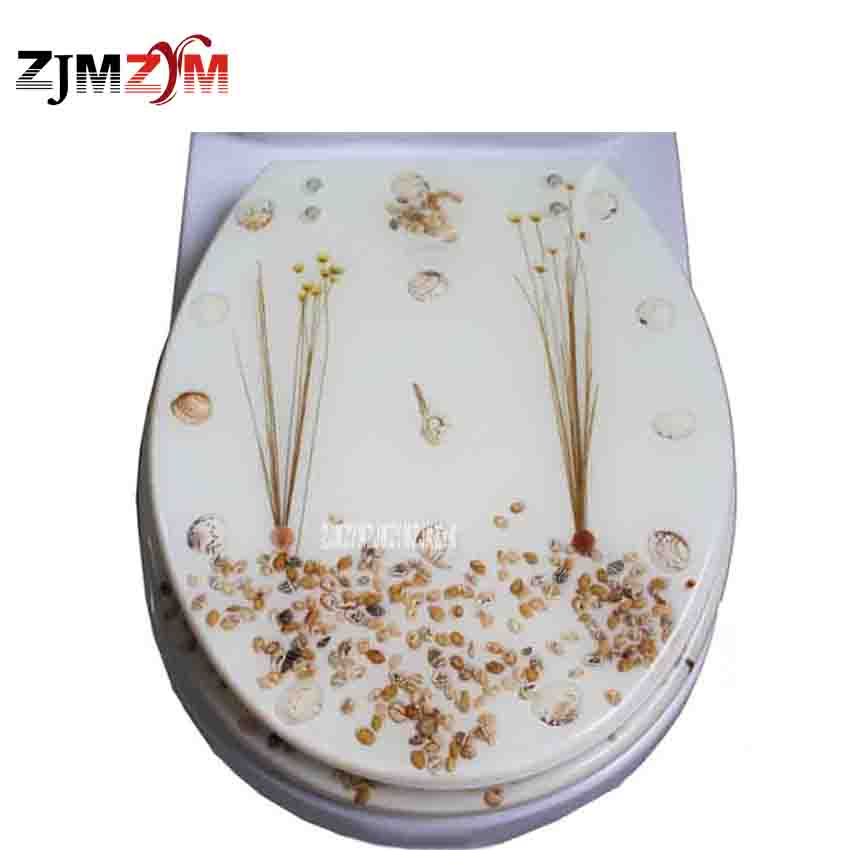 New Resin Toilet Cover Slow Down Thickening U/V/O Universal Dried Flower Shells Toilet Seat Cover With Stainless Steel Fittings