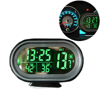 Car LCD Digital Voltage Meter Voltmeter In Out Temperature Display Alarm Clock Battery Monitor Car Electronics