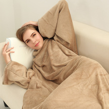 Купить с кэшбэком WAZIR Flannel Sleeve Blanket Lazy Sofa Blanket Sleeved Blanket Home Adult Pajamas 190*140cm Bath Towel cobertor Flannel Blanket