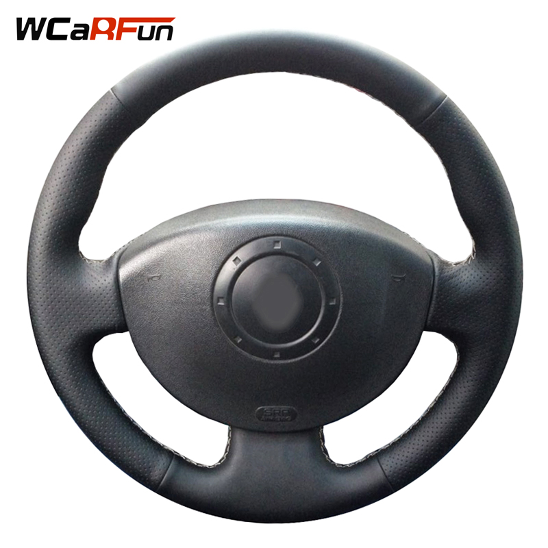 WCaRFun Genuine Leather Car Steering Wheel Cover for Renault Megane 2 2003 2004 2005 2008 Kangoo 2008-2012 Scenic 2 2003-2009 комплект дефлекторов vinguru накладные скотч для renault scenic ii 2003 2009 минивэн 4 шт