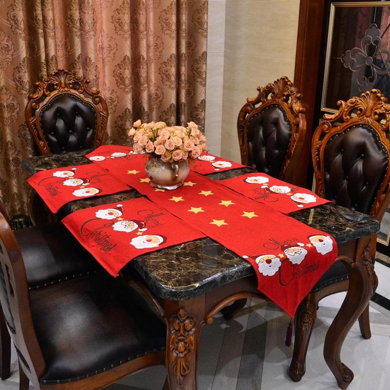 manteles de algodn polister y camino de mesa de navidad de navidad de santa claus rojo