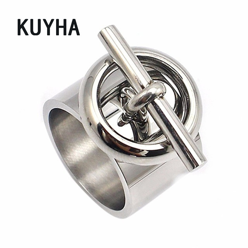 Stainless Steel Round Ring Engravable Customizable Bijoux Women Silver Color Unique Jewelry Exquisite Fashion Girl Biker Ring