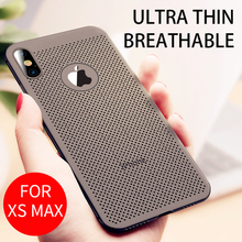 iHaitun Luxury Breathable Case For iPhone XS MAX XR X Cases Hollow Heat Dissipation Back Cover 10 7 8 Plus Hard PC