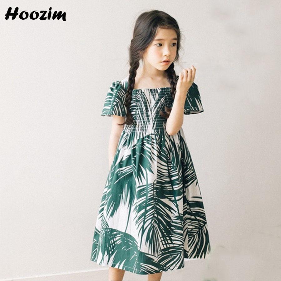 Bohemian Kids Dress For Girls 10 11 12 Years 2018 Summer Children Clothing Fashion Green Print Leaf Cotton Beach Dress For Girls