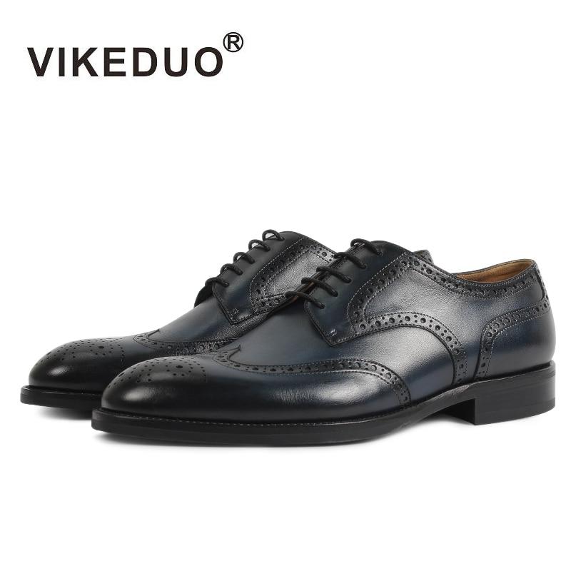 цена на Vikeduo Handmade retro Designer Fashion Luxury Dance Wedding Party Brogue brand male shoe Genuine Leather Men Derby dress Shoes