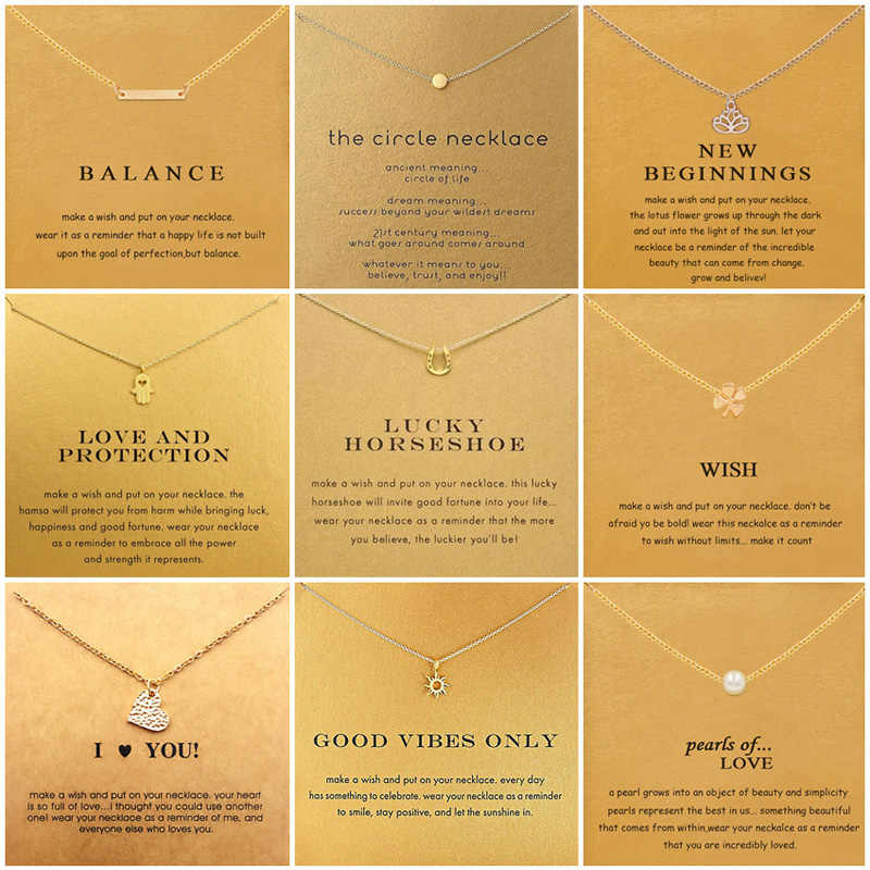 9 Styles Heart Love Pearl Necklace For Women Minimalist Clavicle Chain Choker Necklaces Balance Good Lock Gift Card