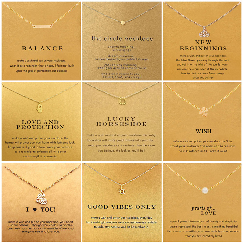 9 Styles Heart Love Pearl Necklace For Women Minimalist Clavicle Chain Choker Necklaces Balance Good Lock Gift Card image