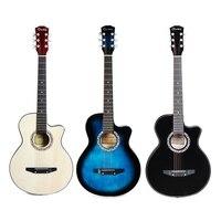 38 Inç Guitarra Akustik Halk Gitar Şarkısı Pratiği Basswood 6 Strings Gitar Acemi Öğrenciler Için
