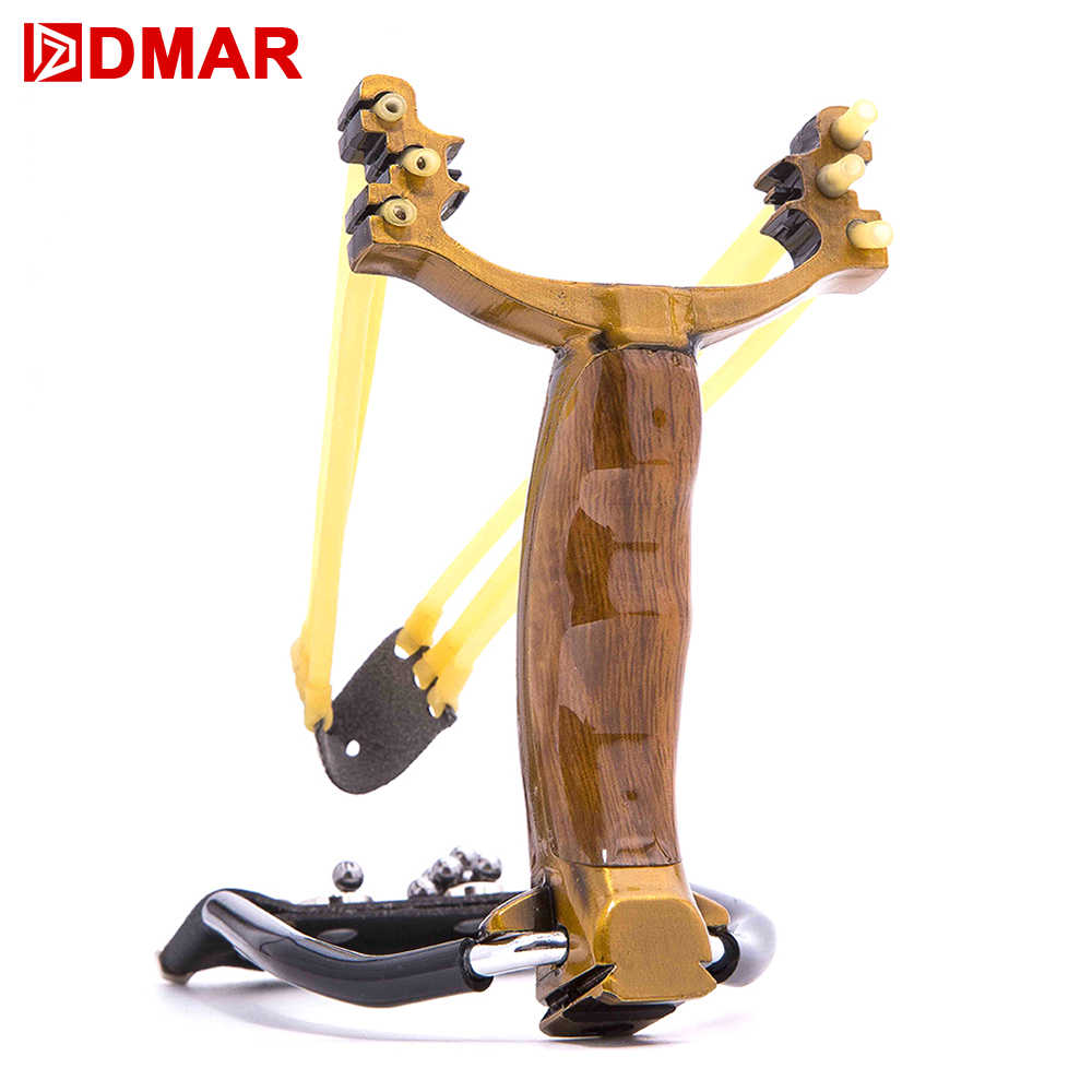 DMAR Powerful Slingshot Hunting Catapult Steel Rubber Bands Ammos Balls Shooting Archery Accessories Outdoor Toys 1pc slingshot stainless steel length 128mm thickness 9mm aiming points with rubber bands powerful shooting hunting accessories