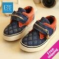 Nuevo 2015 Primavera/Otoño Niños Zapatos Zapatos de Bebé Ocasionales Gancho y Lazo de La Manera Embroma las Zapatillas de deporte de Lona con cremallera Niños de La Manera Zapatos Size25-37