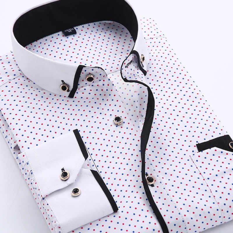 Męska koszula na przyjęcia towarzyskie koszule wygodna męska koszula 4XL Plus rozmiar moda biznesowa koszula na długi rękaw z nadrukiem Casual długi rękaw
